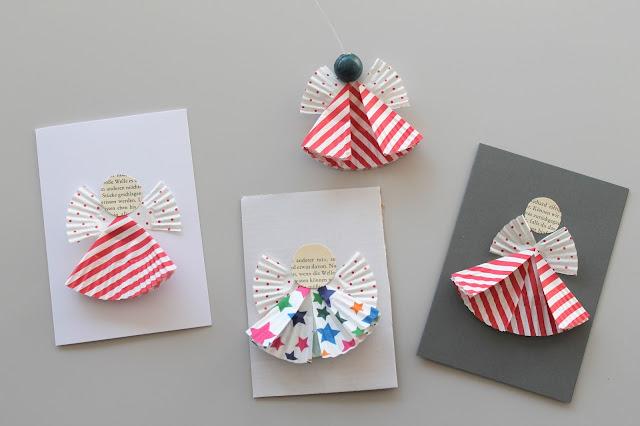 DIY Engel Karten Baumschmuck aus Muffinformen