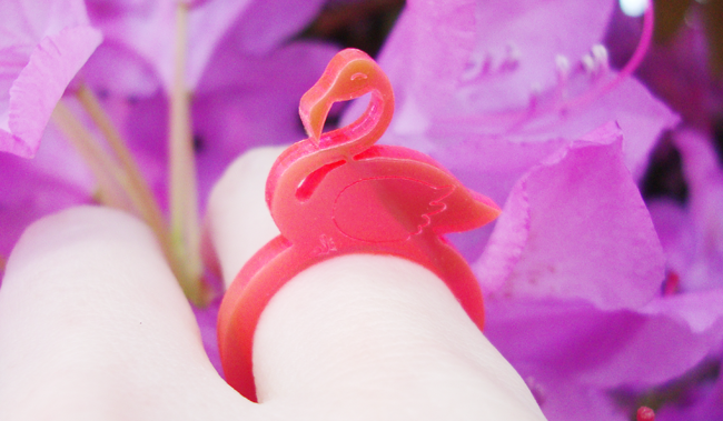 flamingo ring, i love crafty, flamingo accessory