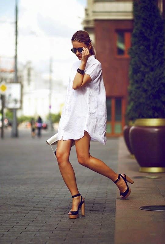 roupas da moda, chemise, vestido camisa branco, moda feminina, bolsa  e sandália com amarração no tornozelo