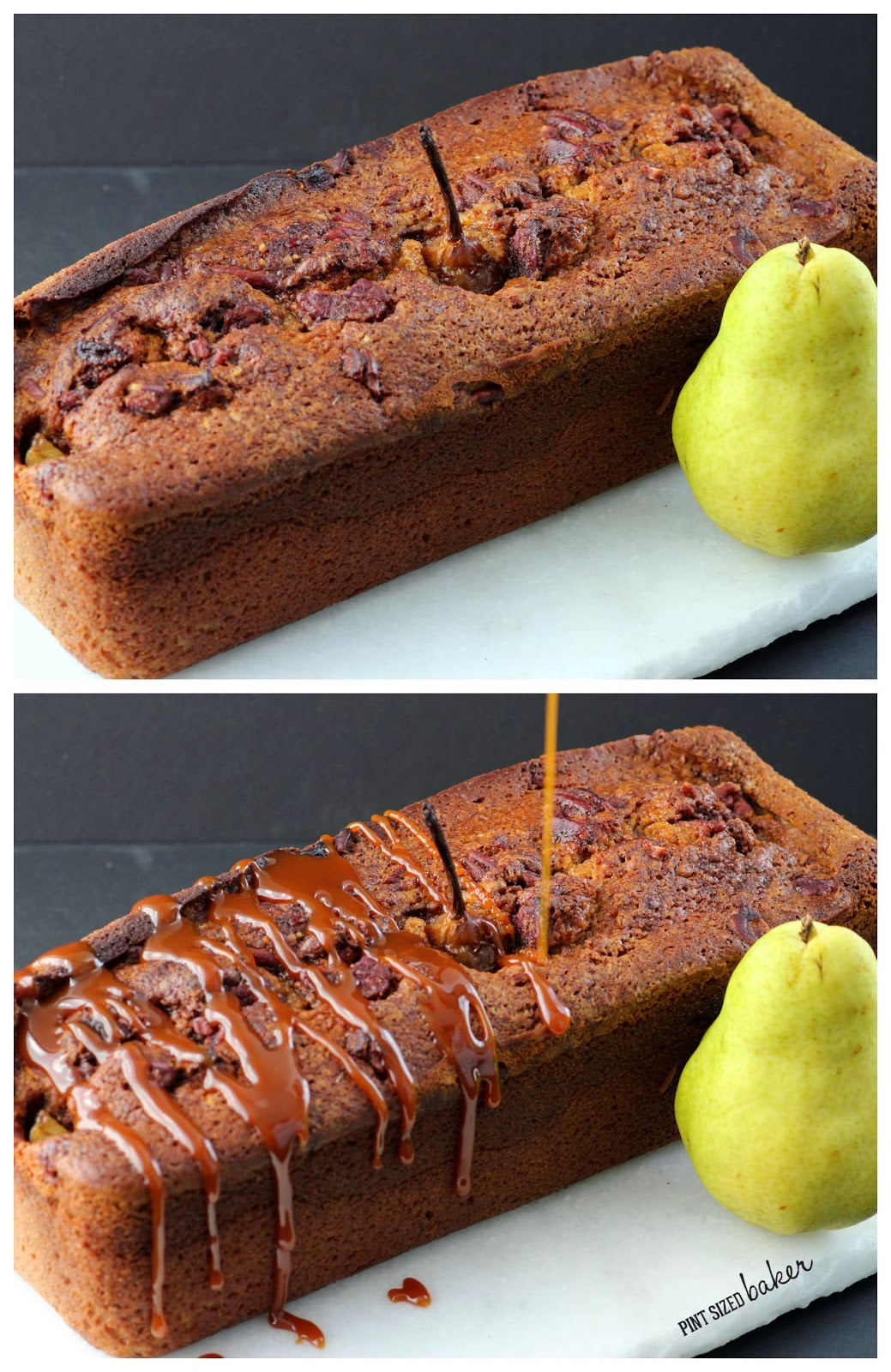 Pumpkin Quick Bread baked with Poached Pears and then drizzled with Salted Caramel.