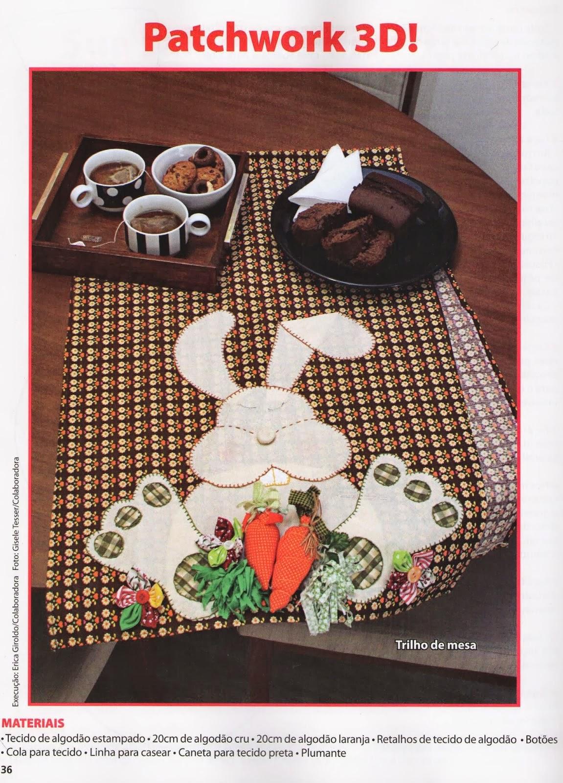 Moldes de coelho para caminho de mesa