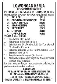 Lowongan Bank Artha Graha Internasional Tbk (Lampung) Terbaru Maret 2013