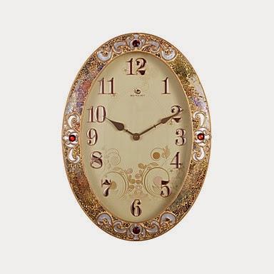 Reloj de pared Oval Elegante con Borde Rubí
