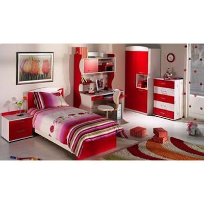 kirmizi+beyaz+genc+odasi Yeni Tasarım Genç Odası Modelleri