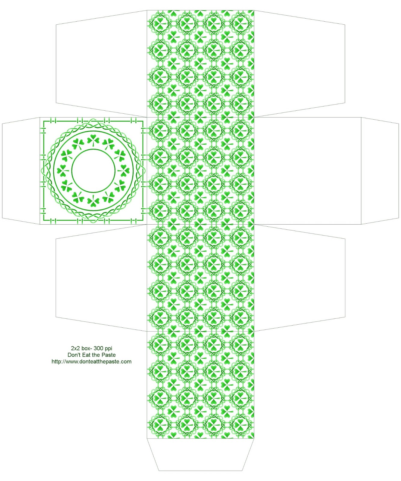 Shamrock printable gift box #papercrafts #SaintPatricksDay
