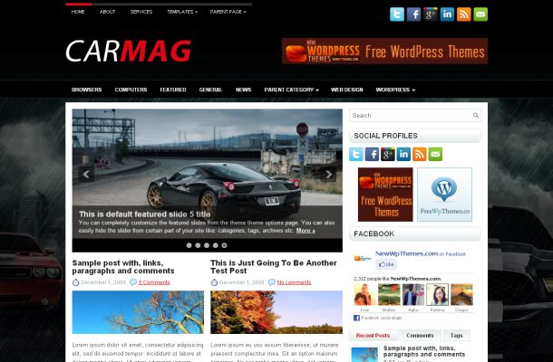 Cars News Magazine Black Free Wordpress Themes