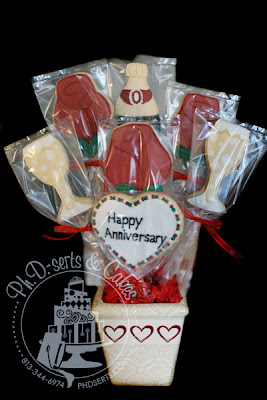 wedding anniversary cookie bouquet