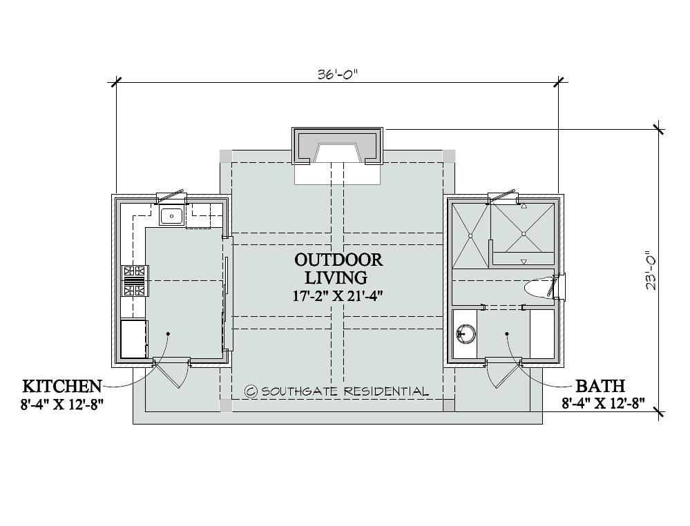 Southgate residential poolhouse plans for Pool house plans with bathroom