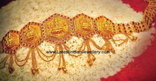 Latest Gold Vaddanam Design Rubies