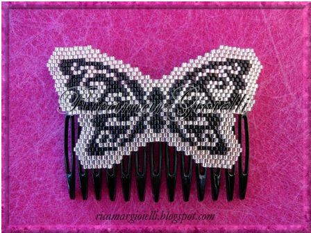 fermaglio per capelli farfalla in peyote