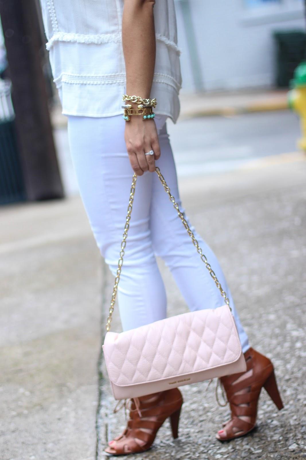 LOFT Top, Vera Bradley Bag, White Jeans, Summer Style