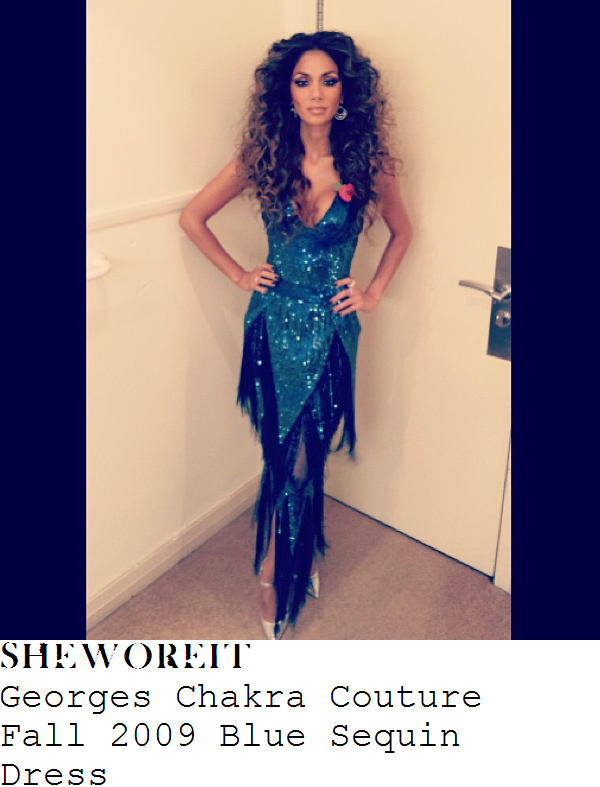 nicole-scherzinger-blue-sequin-embellished-v-neck-fringed-dress-x-factor