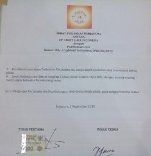 Kontrak Kerja PAPUAmart.com dengan Light3All Indonesia telah DIlakukan di Jayapura