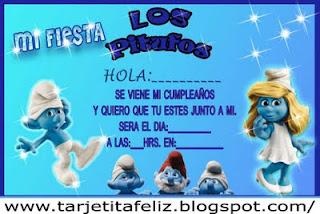 Invitación  de Los Pitufos