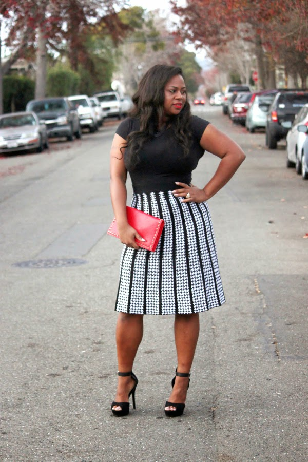 Mahogany Closet Black and White A-line skirt Red Neiman Marcus stud clutch Melissa Geddis