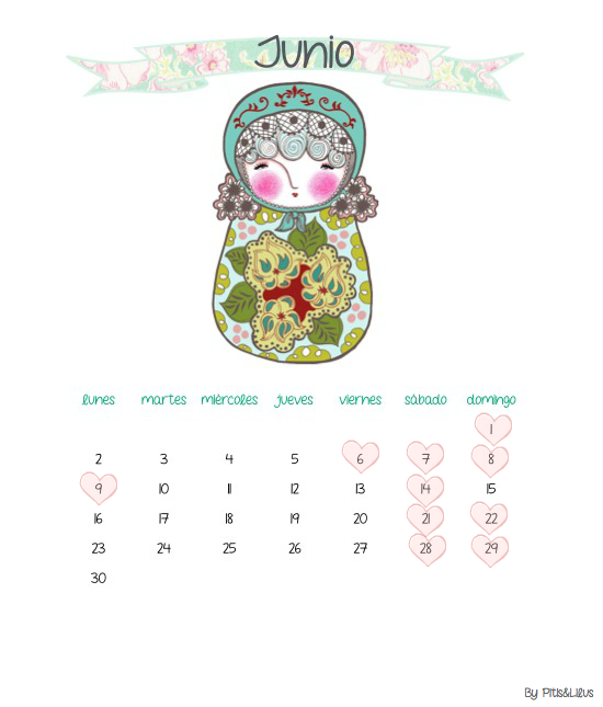 CALENDARIO IMPRIMIBLE JUNIO 2014 BY PITIS&LILUS