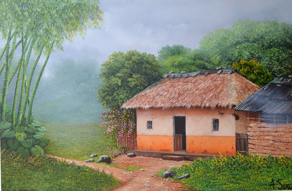 Cuadros modernos pinturas y dibujos paisajes tipicos de - Paisajes de casas ...