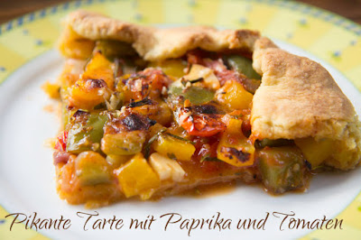 Pikante Tarte mit Paprika und Tomaten - Rezept