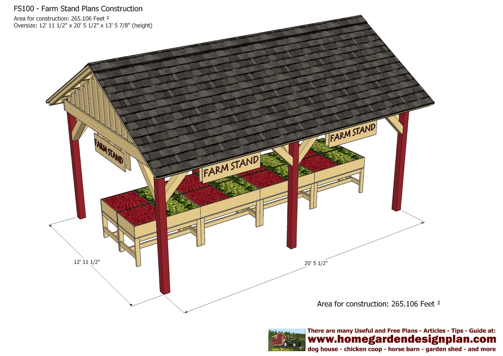 home garden plans FS100 Farm Stand Plans Construction