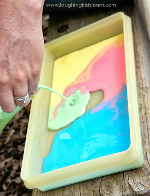 Making chalk paint using cornflour or cornstarch for sensory play