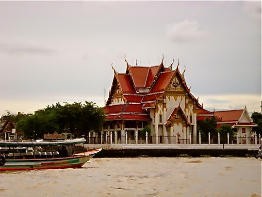 Buddhist Temple on the Chao Phraya River Bangkok Thailand