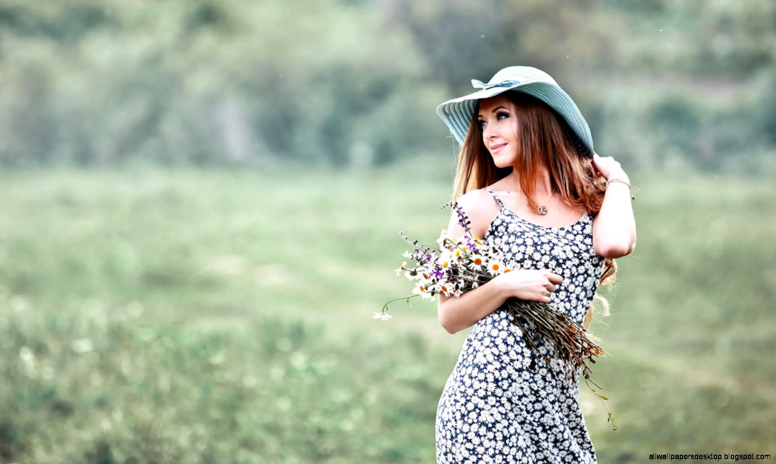 Lovely Girl Dress Hat Flowers HD Wallpaper   FreeWallsUp