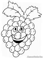 Gambar Kartun Animasi Buah Anggur Untuk Diwarnai