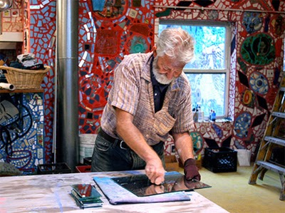 Mosaic artist Isaiah Zagar in his studio at Philadelphia's Magic Gardens