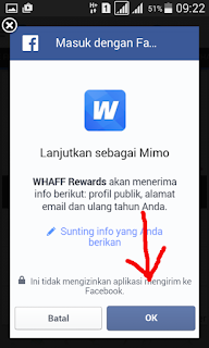 Persetujuan aplikasi WHAFF di facebook