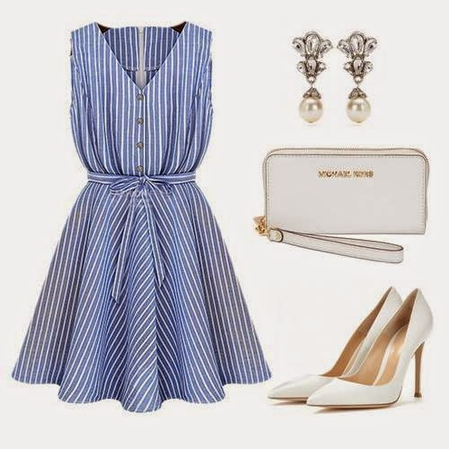 Outfit Set With White Shoes, Bag And Earrings...