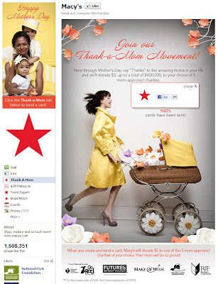 Click to view Macy's Thank-a-Mom Movement Facebook page full-sized