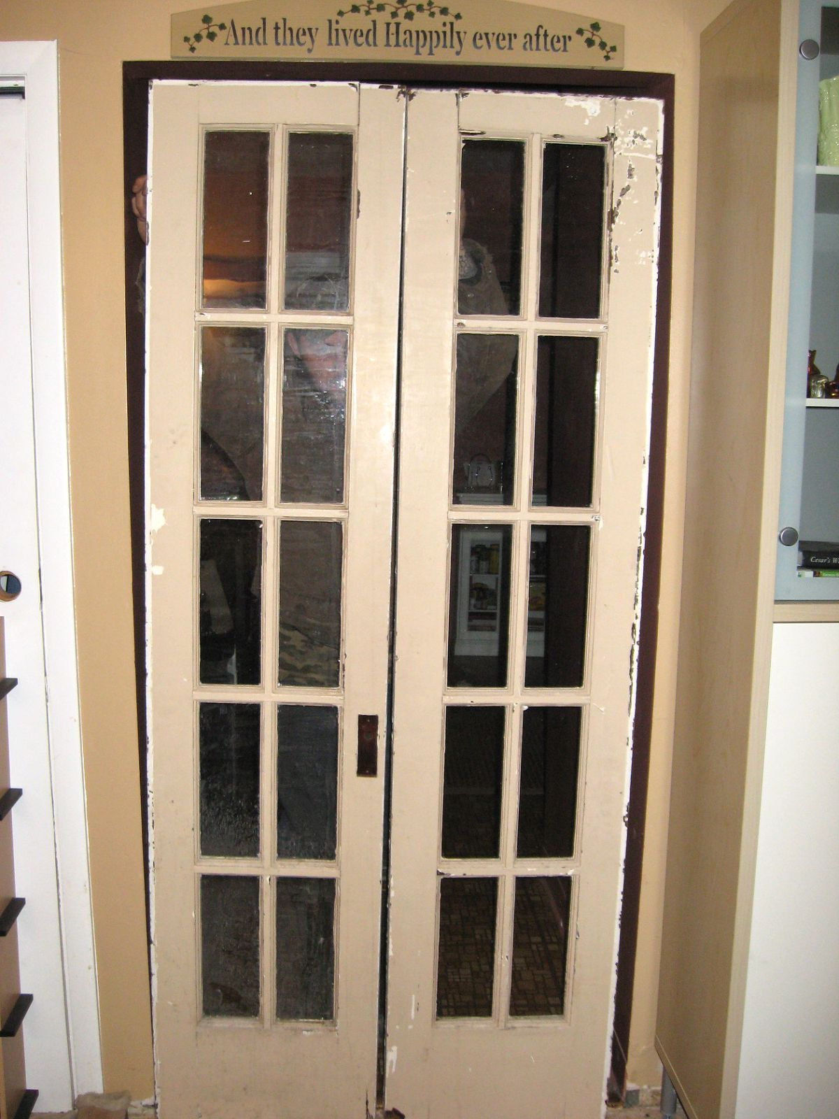 Antique French Doors : Two blue houses refinished vintage french doors
