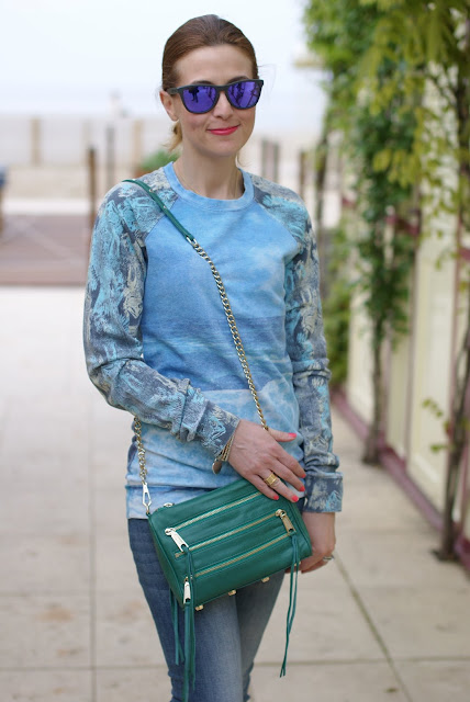 Sea printed sweatshirt, Rebecca Minkoff green bag, Fashion and Cookies