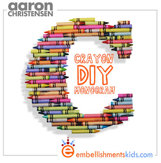 crayon monogram diy craft