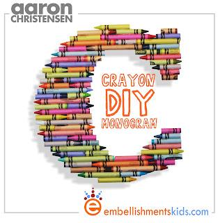 crayon monogram diy craft