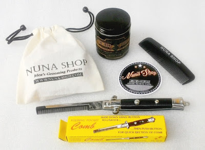 Paket Hemat Pomade The Iron Society Water Soluble + Switchblade Comb (SB) + Pouch + Stiker + Sisir Saku