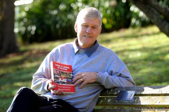"Gordon Paterson, Tauranga, former Rotary exchange student from South Africa (1970) revisits his friends in Havelock North, has also written a book, ""There is genius in passion."" photograph"