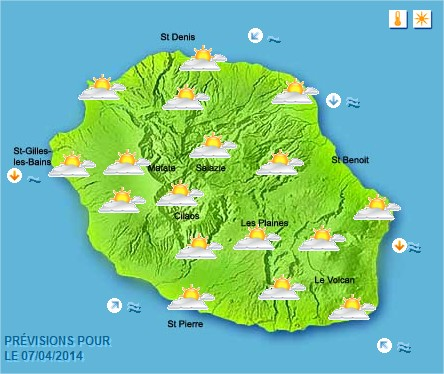 Prévisions météo Réunion pour le Lundi 07/04/14