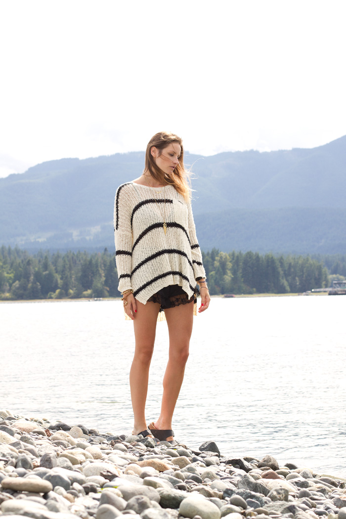 Vancouver Fashion Blogger, Alison Hutchinson, is wearing a Free People sweater, Urban Outfitters lace shorts, birkenstock black sandals, Sam Edelman Necklace and Daniel Wellington Watch