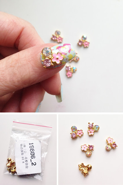 5Pcs Crystal Flower Nail Art Decoration 3D Metal UV Gel Studs Mini Floral Rhinestone Pattern