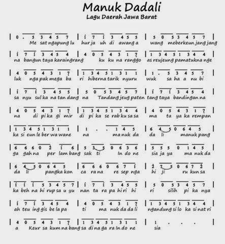lagu daerah : manuk dadali lirik lagu dan not angka   ayo