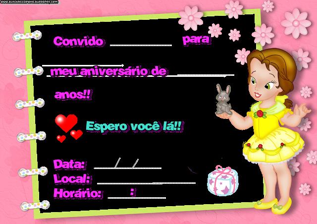Convite de aniversário para Garotas(Princesa)