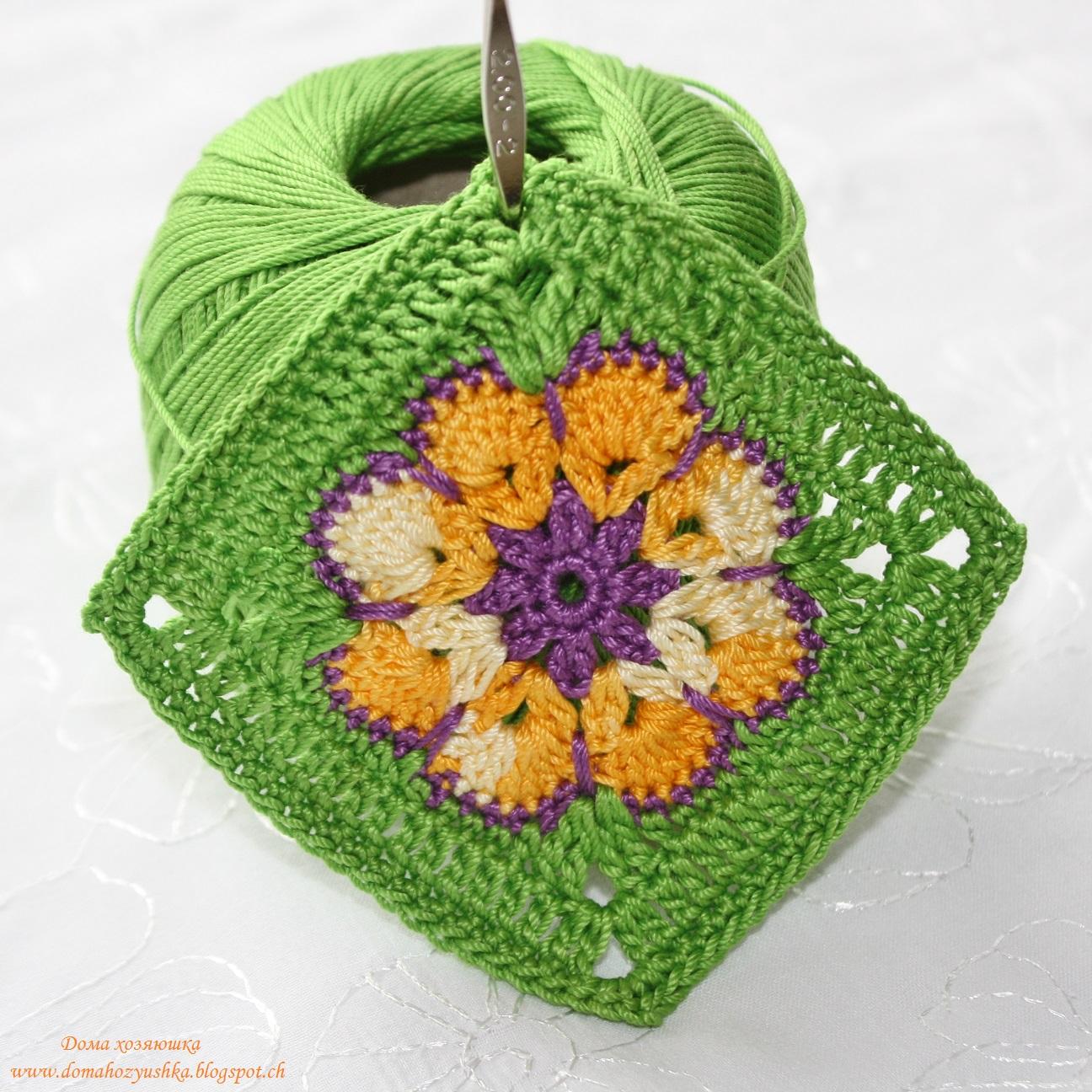 схема вязания крючком мотива яркий цветок