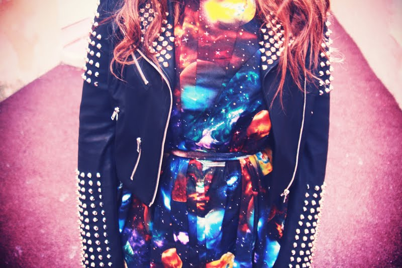 studded jacket galaxy dress