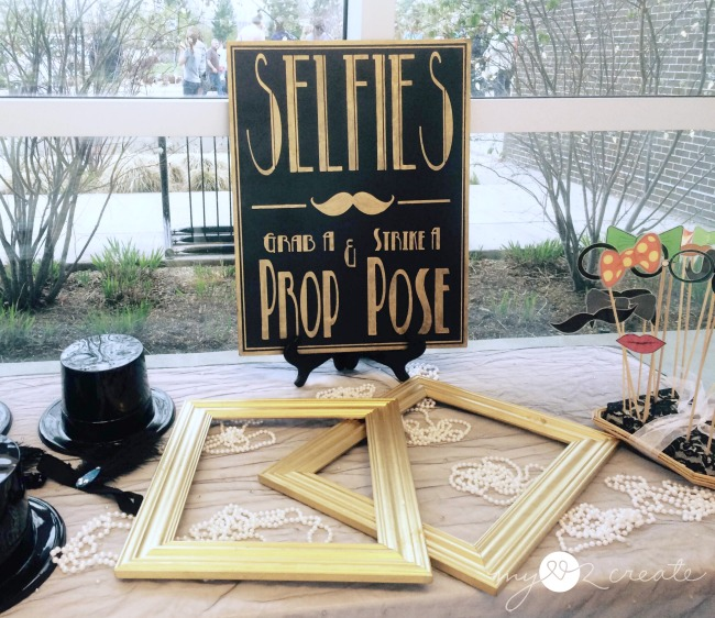 Selfie sign on prop table for wedding chapel