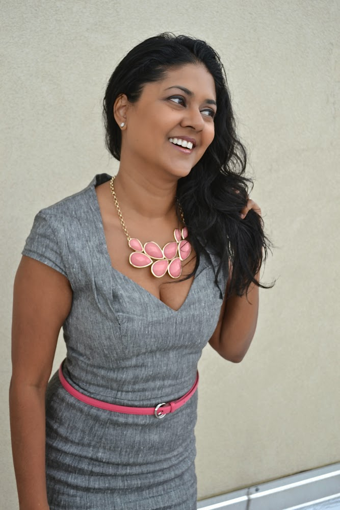 asos grey dress pink bib necklace