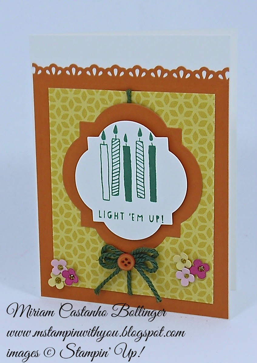Miriam Castanho Bollinger, #mstampinwithyou, stampin up, demosntrator, dsc 128, birthday card, flower pot dsp, balloon bash stamp set, big shot, window frames collection, finishing touches edgelits, su