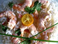 Gambas ou crevettes façon thaï - piment, citron vert, lait de coco, coriandre  1