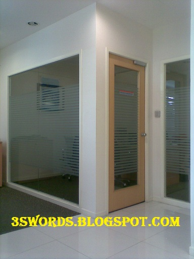 Gypsum board partition glass on the wall