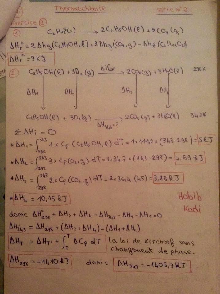 smpc s1 td thermochimie série FSR